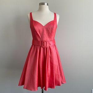 Aqua Dresses Bright Pink Fit & Flare Belted Dress